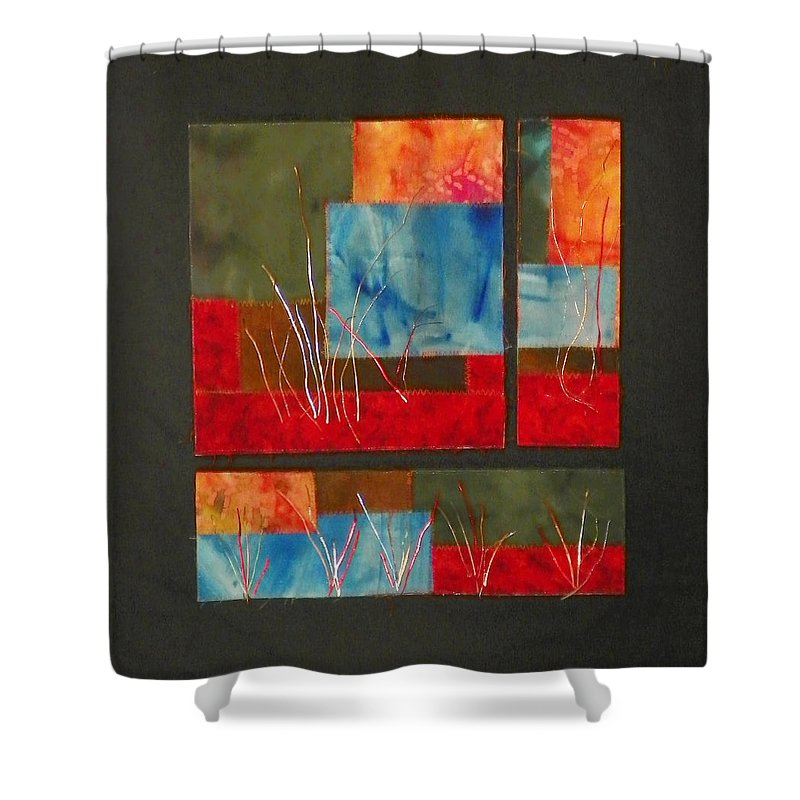 Nature Shower Curtain featuring the mixed media Reeds by Jenny Williams