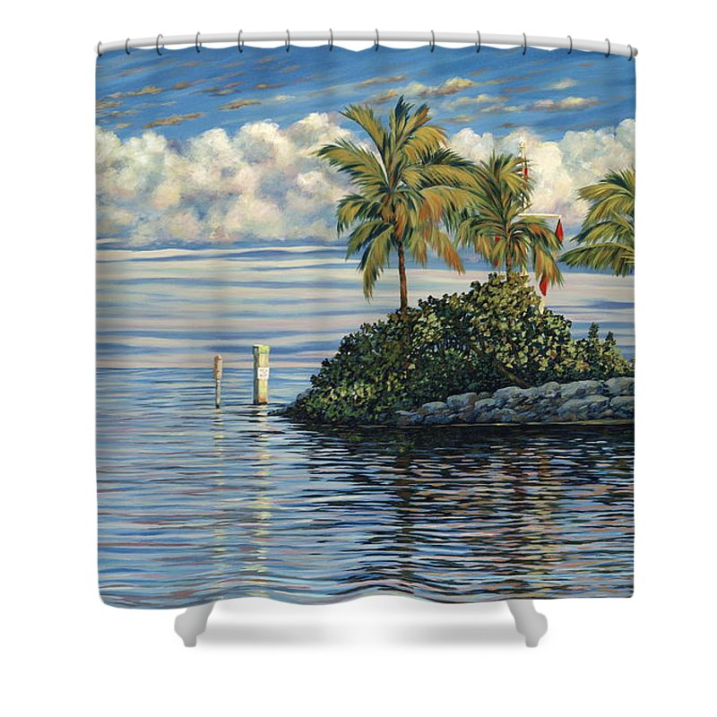 Ocean Reef Club Shower Curtain featuring the painting Reef Channel by Danielle Perry