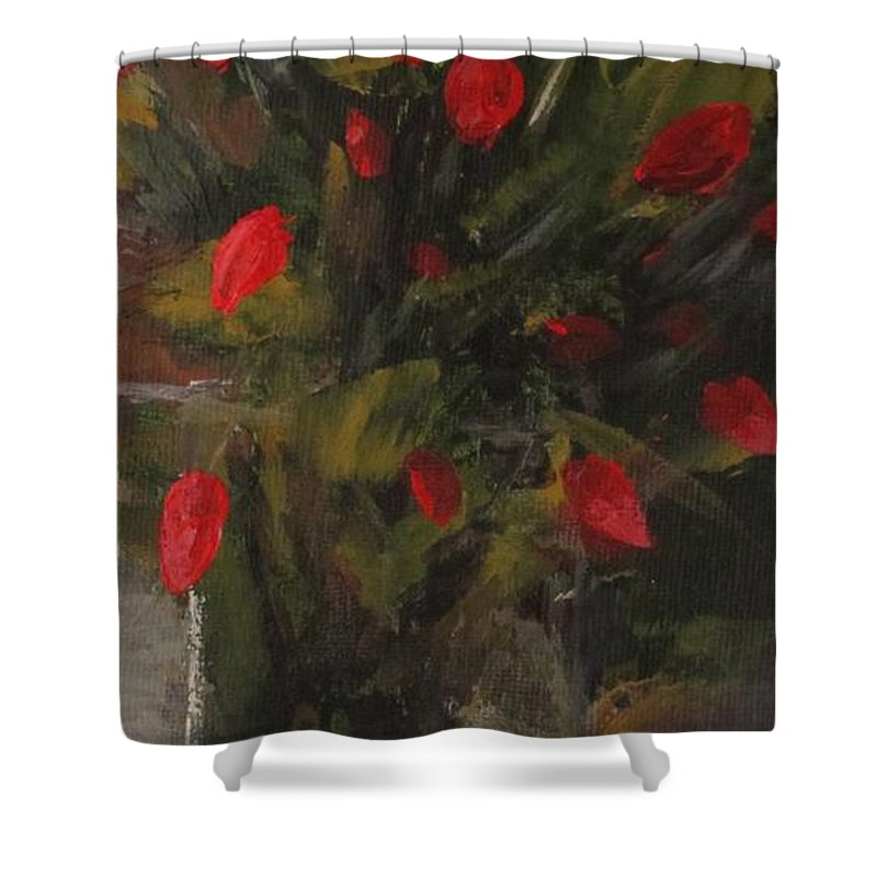 Floral Shower Curtain featuring the painting Refined. by Christina Glaser