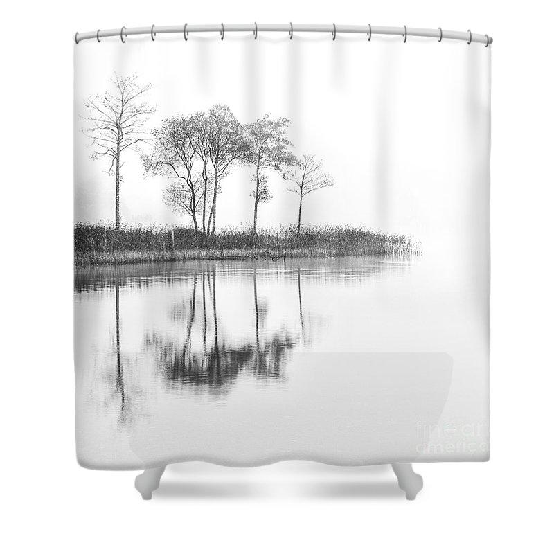 Autumn Shower Curtain featuring the photograph Reflected Calm by Richard Burdon
