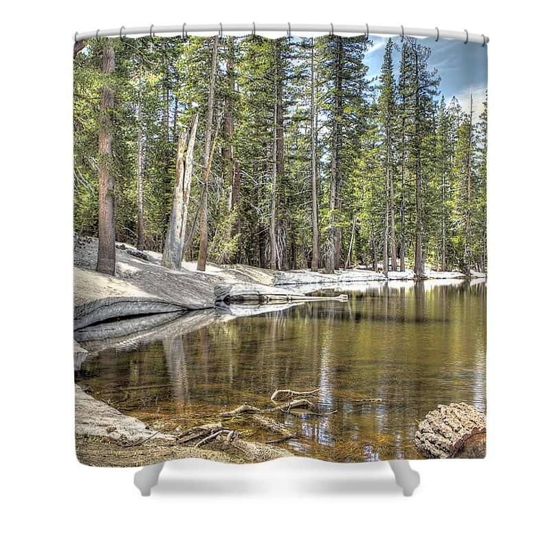 Carson Spur Shower Curtain featuring the photograph reflecting pond 2 Carson Spur by SC Heffner
