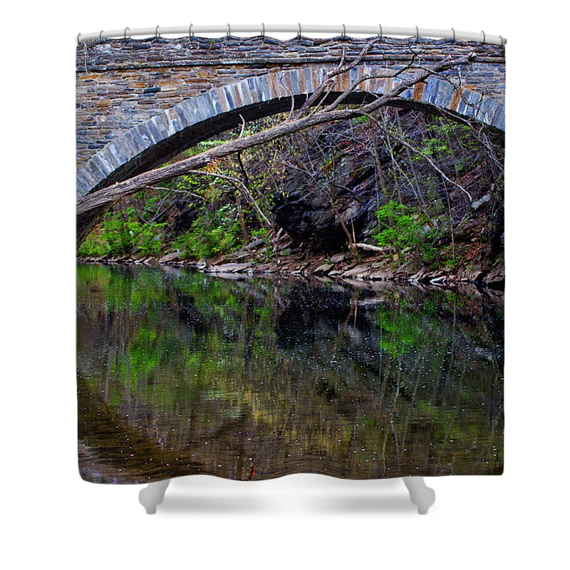 Bridge Shower Curtain featuring the photograph Reflecting While Fishing by Tom Gari Gallery-Three-Photography