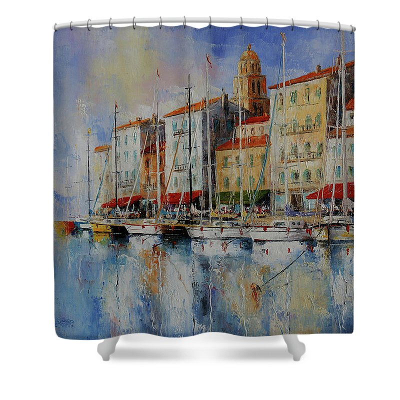 Seascapes Shower Curtain featuring the painting Reflection - St.tropez - France by Miroslav Stojkovic