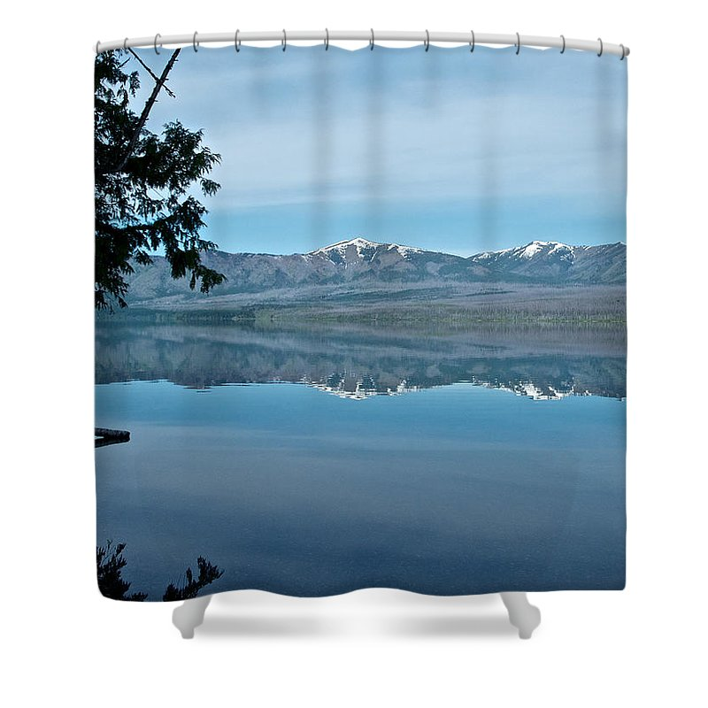 Reflection In Lake Mcdonald Shower Curtain featuring the photograph Reflection In Lake Mcdonald In Glacier National Park-montana by Ruth Hager