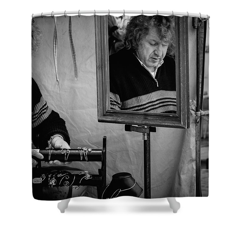 Man Shower Curtain featuring the photograph Reflection Of A Man by Jimmy Karlsson