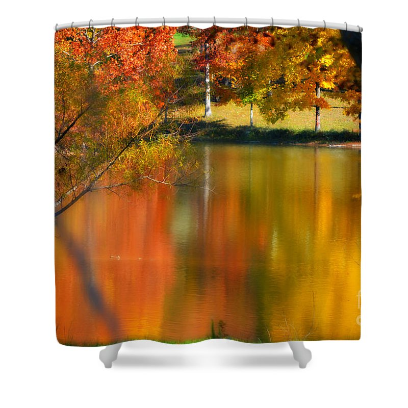 Autumn Shower Curtain featuring the photograph Reflection Of My Thoughts Autumn Reflections by Peggy Franz