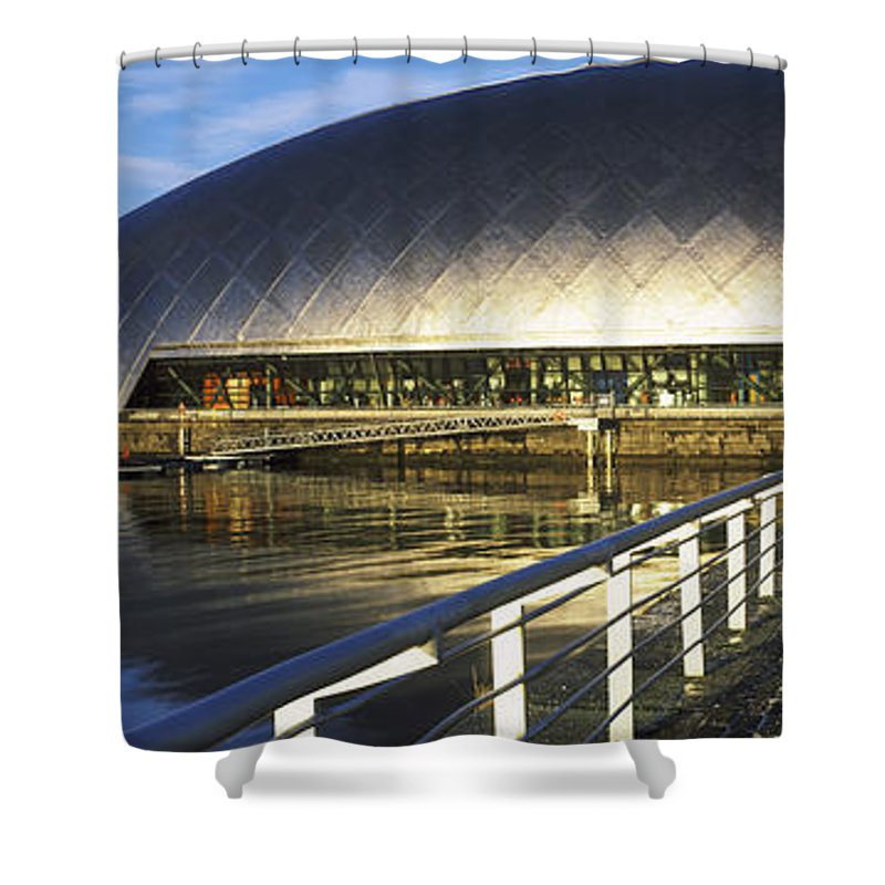 Photography Shower Curtain featuring the photograph Reflection Of The Glasgow Science by Panoramic Images