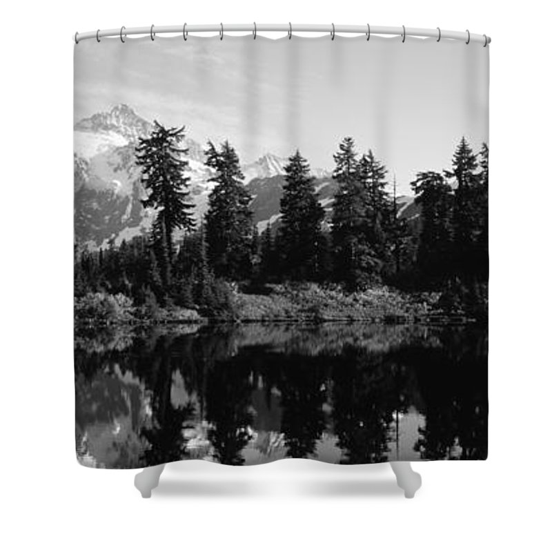 Photography Shower Curtain featuring the photograph Reflection Of Trees And Mountains by Panoramic Images