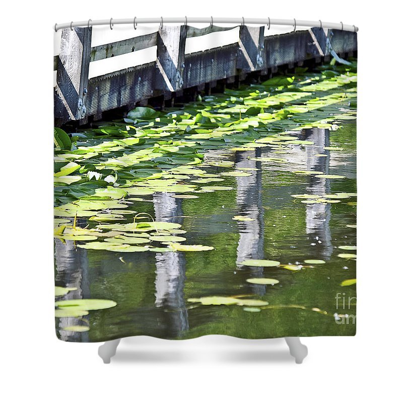 Reflection Shower Curtain featuring the photograph Reflection On The Pond by David Fabian
