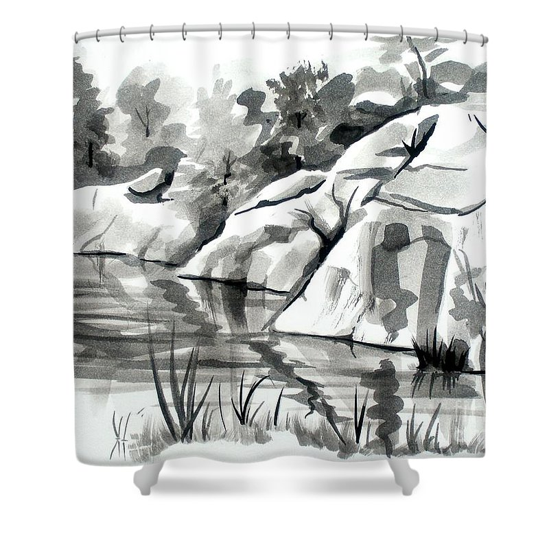 Reflections At Elephant Rocks State Park No I102 Shower Curtain featuring the painting Reflections At Elephant Rocks State Park No I102 by Kip DeVore