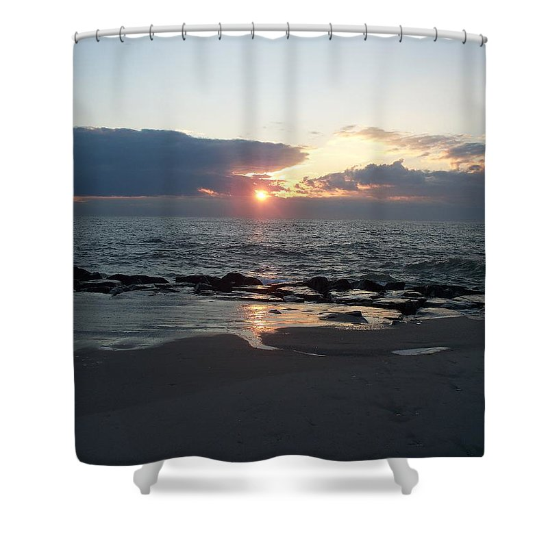 Reflections Shower Curtain featuring the painting Reflections Cape May Point by Eric Schiabor
