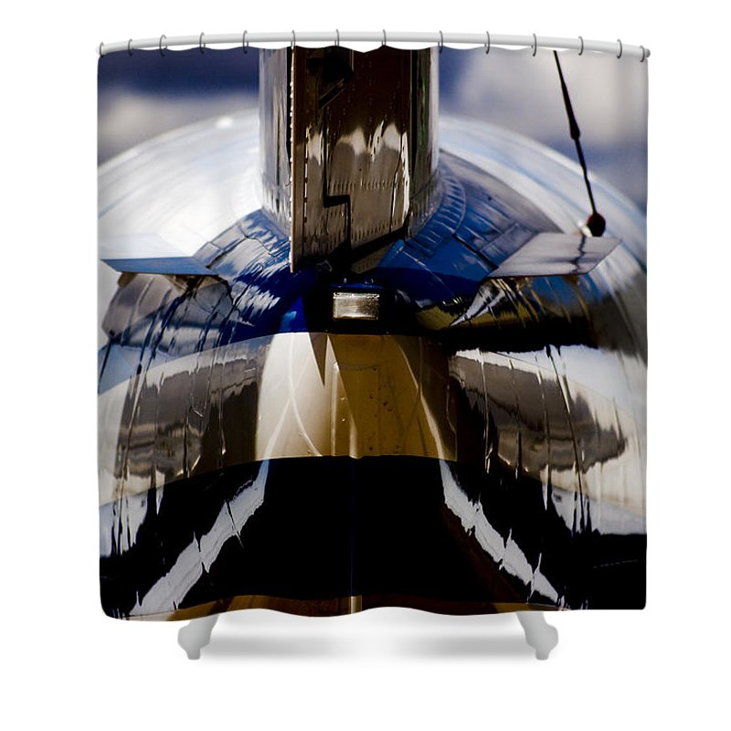 Beechjet 400 Shower Curtain featuring the photograph Reflections From The Back by Paul Job