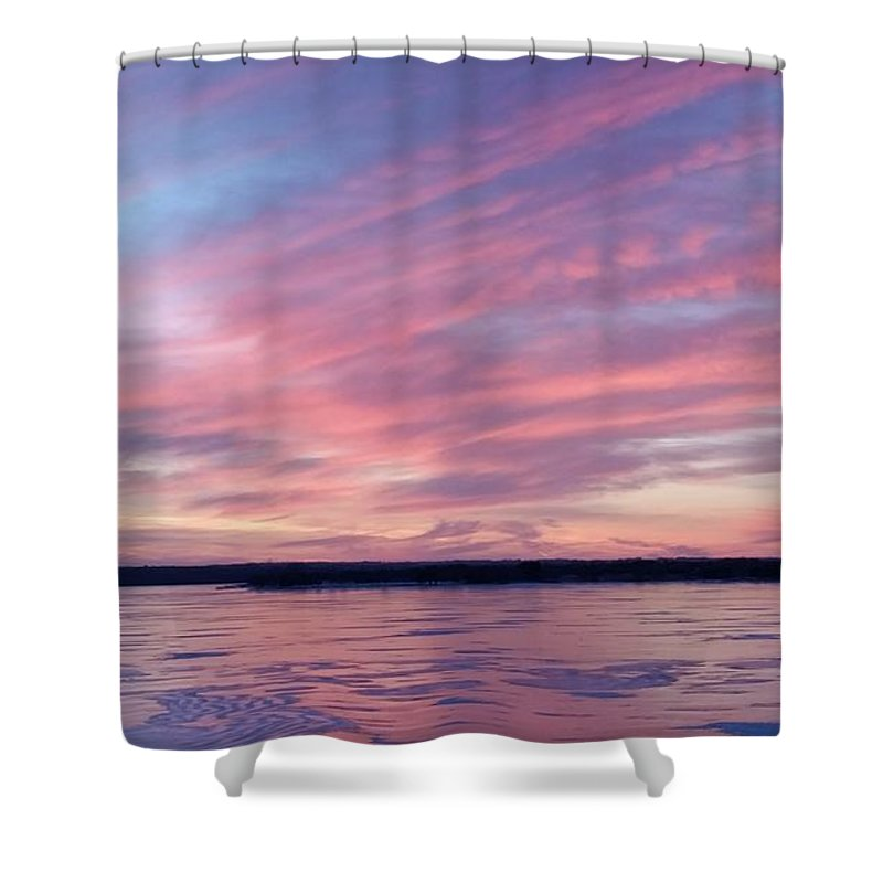 Branched Oak Lake Shower Curtain featuring the photograph Reflections In Pink by Caryl J Bohn
