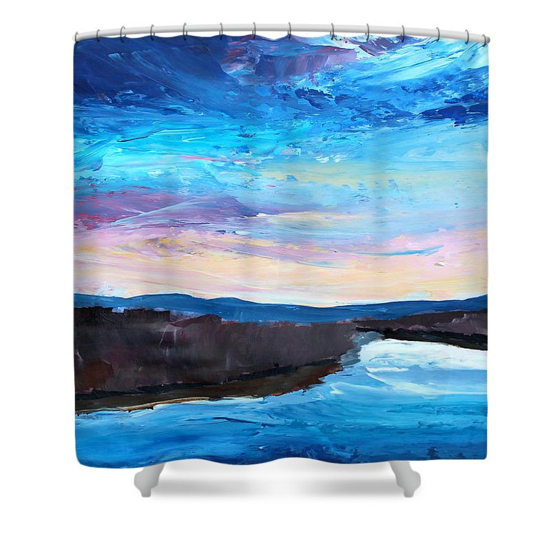 Jordan Shower Curtain featuring the painting Reflections In River Jordan Israel by M Bleichner