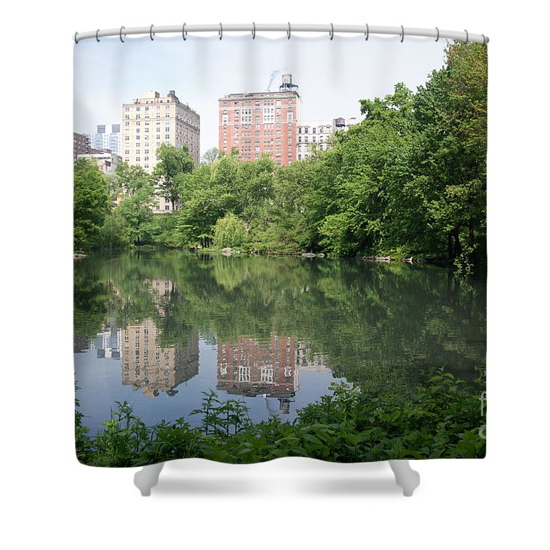 Central Park Shower Curtain featuring the digital art Reflections In The Pool by Carol Ailles