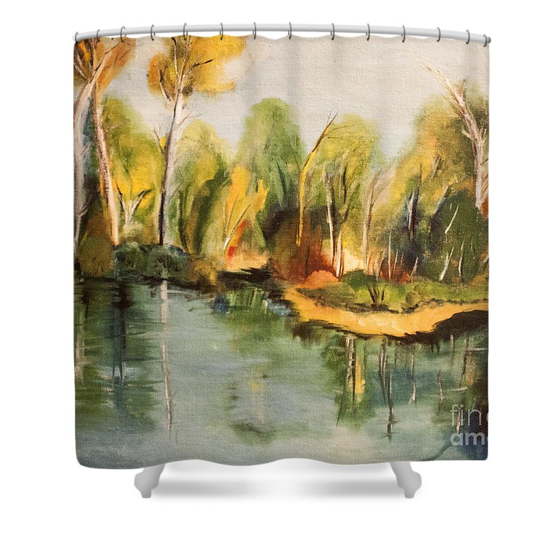 Water Shower Curtain featuring the painting Reflections Of Age Thirteen by Janice Pariza