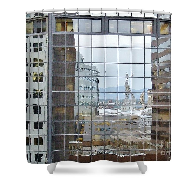 Denver Shower Curtain featuring the photograph Reflections Of The Capitol Building In Denver Colorado by Janice Pariza