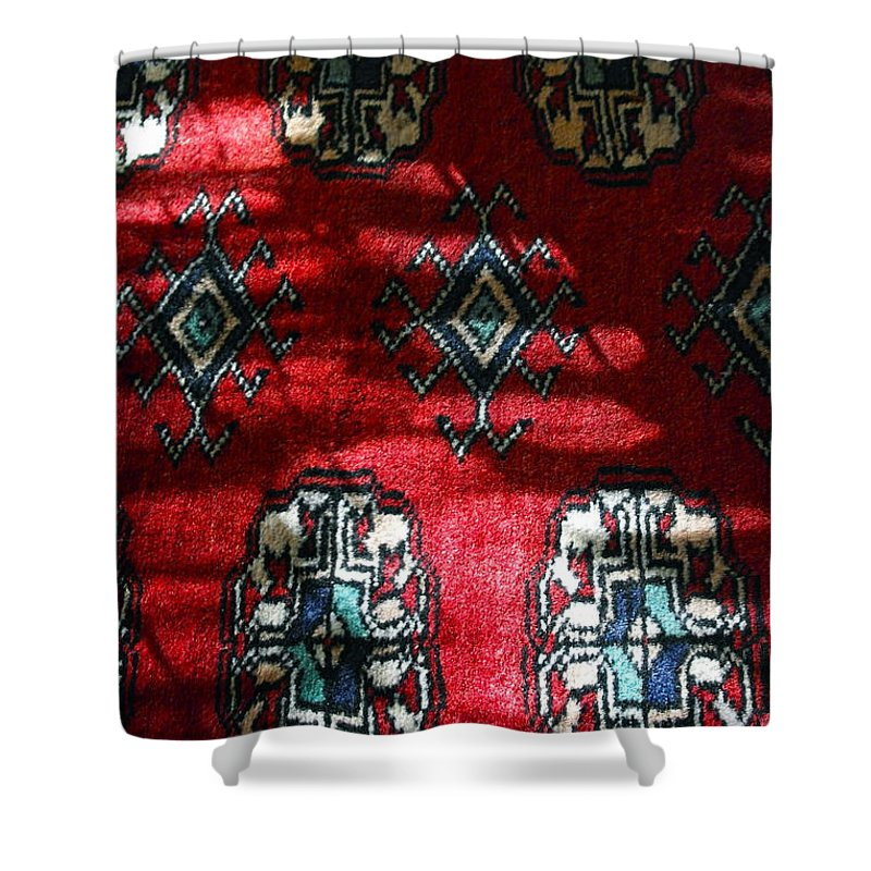 Hand-knotted Rug Shower Curtain featuring the photograph Reflections On A Persian Rug by Michele Myers