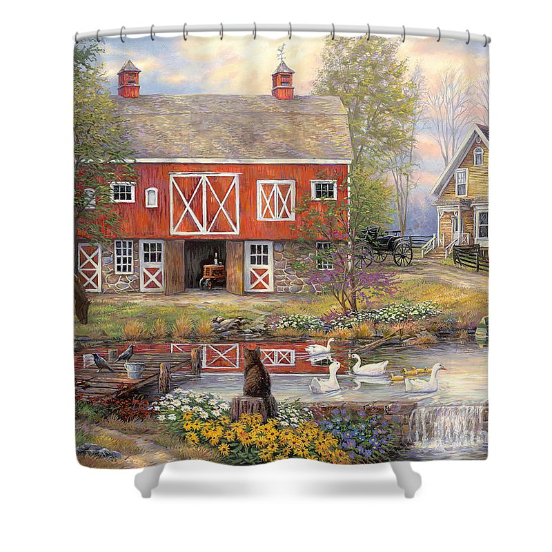 Americana Shower Curtain featuring the painting Reflections On Country Living by Chuck Pinson
