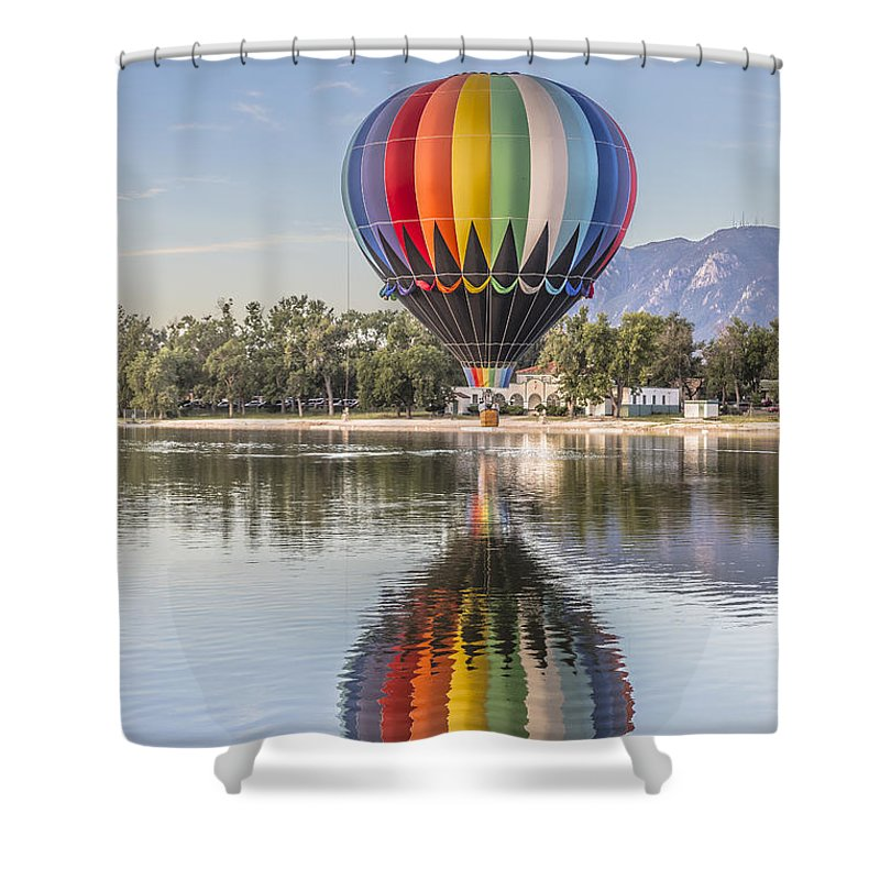 Hot Air Balloon Shower Curtain featuring the photograph Reflections by Thomas Dilworth