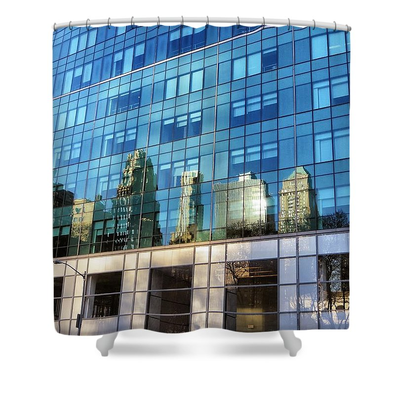 City Shower Curtain featuring the photograph Reflections by Tom Maimran