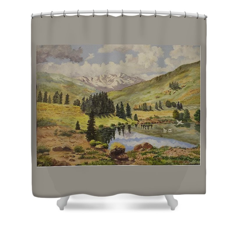 Landscape Shower Curtain featuring the painting Reflections by Wanda Dansereau
