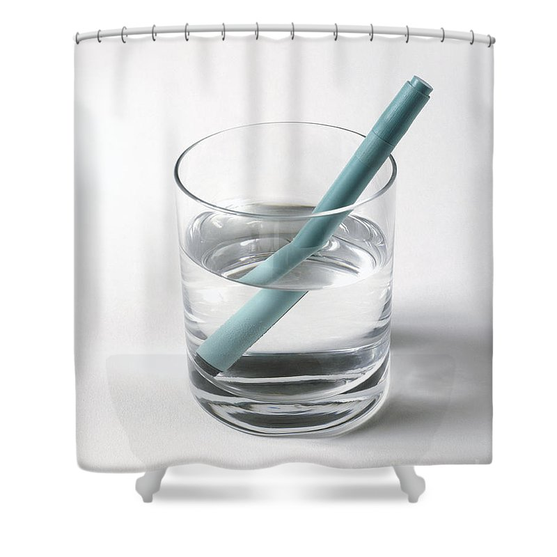 Bending Shower Curtain Featuring The Photograph Refraction Pen In Glass Of Water By Stephen Oliver