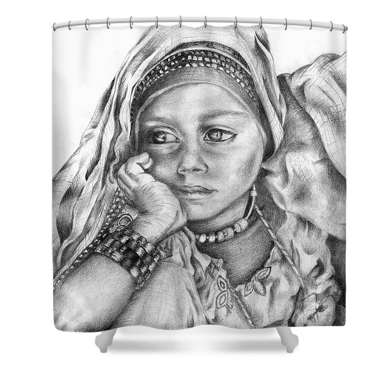Refugee Shower Curtain featuring the drawing Refugee by Monica Magallon