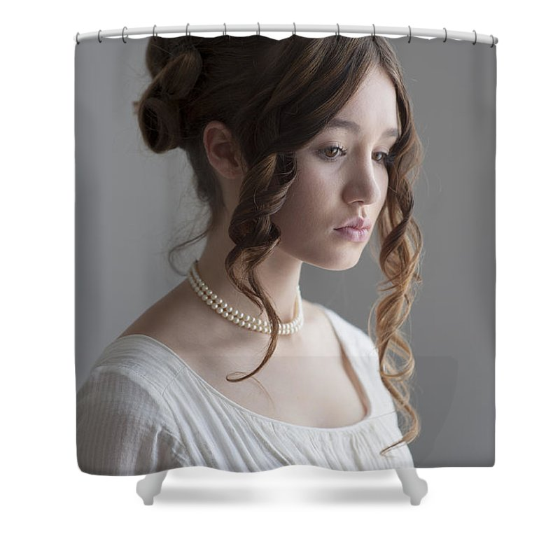 Regency Shower Curtain featuring the photograph Regency Period Woman Portrait Beautiful Young by Lee Avison