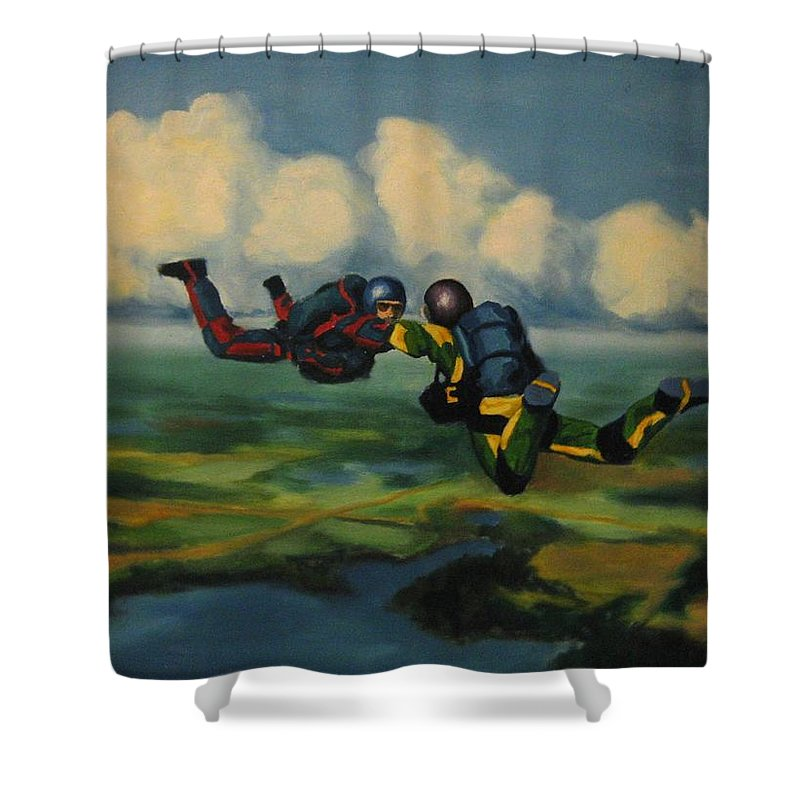 Skydivers Shower Curtain featuring the painting Relative Work by John Malone