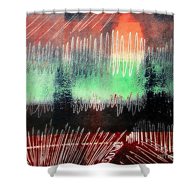 Abstract. Green Shower Curtain featuring the mixed media Remains Of The Day 2 by Pamela Iris Harden