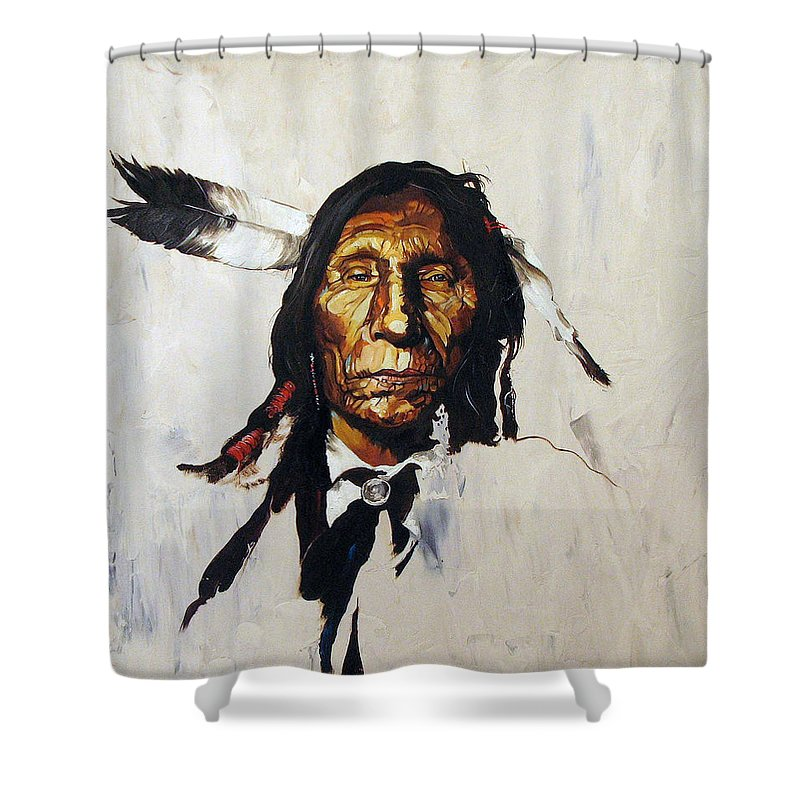 Southwest Art Shower Curtain featuring the painting Remember by J W Baker