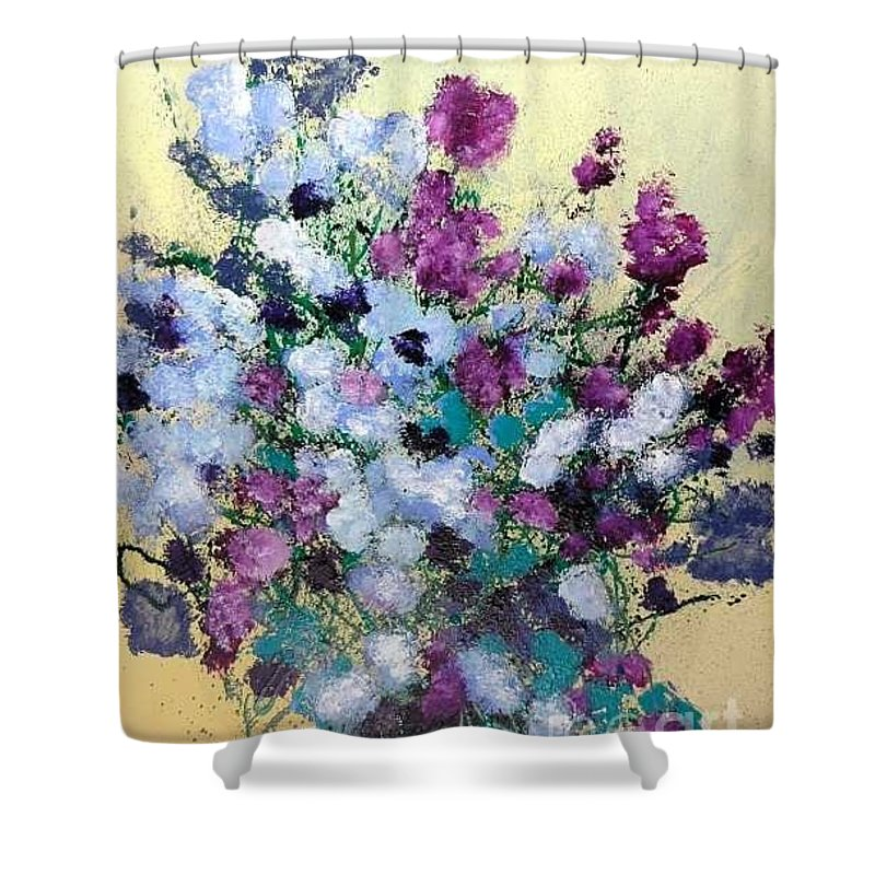 Landscape Shower Curtain featuring the painting Remembering When by Allan P Friedlander