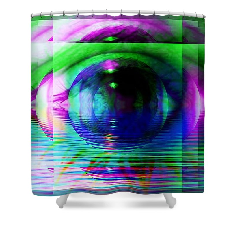 Fractal Art Shower Curtain featuring the digital art Remote Viewing by Elizabeth McTaggart