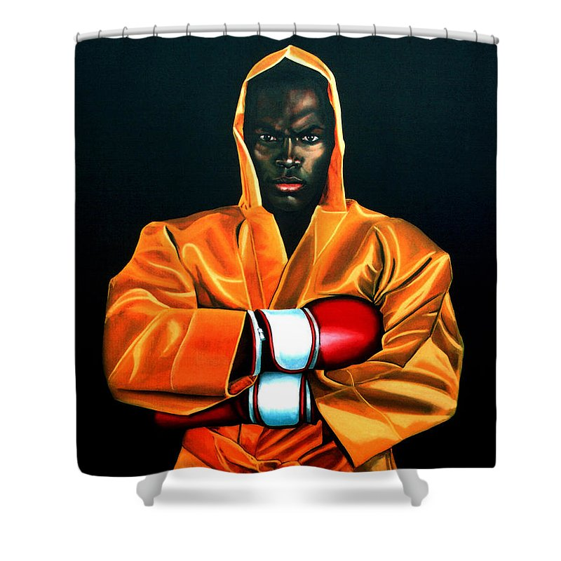 Remy Bonjasky Shower Curtain featuring the painting Remy Bonjasky by Paul Meijering
