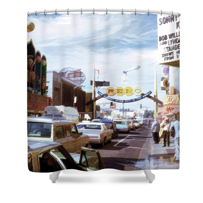 Shower Curtain featuring the digital art Reno At Mid Century by Cathy Anderson