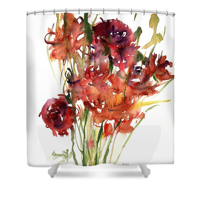 Renoncules Shower Curtain featuring the painting Renoncules by Claudia Hutchins-Puechavy
