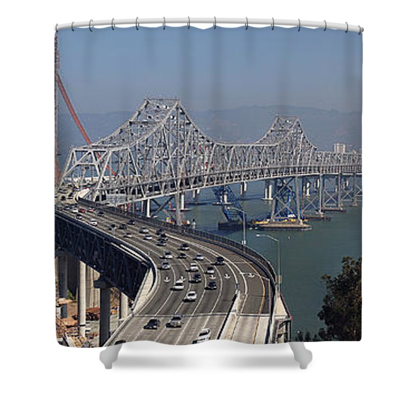 Eastern Shower Curtain featuring the photograph Replacement Of The Easter Span San Francisco Oakland Bay Bridge From Yerba Buena Island Oct 9th 2011 by California Views Archives Mr Pat Hathaway Archives