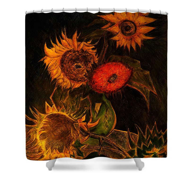 Replica Shower Curtain Featuring The Drawing Replica Of Vincent Van Gogh  Still Life Vase With Five