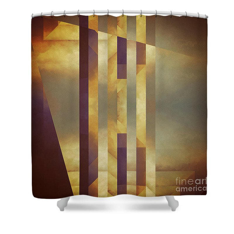 Abstract Shower Curtain featuring the painting Repressed Altarpiece by Lonnie Christopher