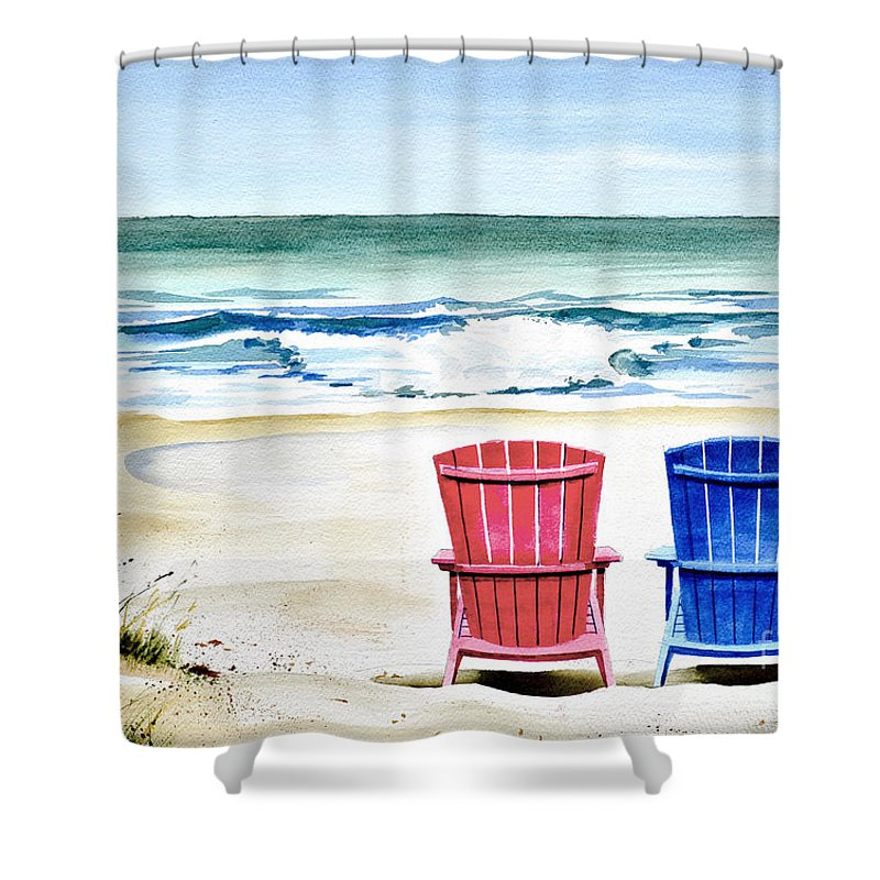 Ocean Scene Of Two Wooden Adirondack Beach Chairs In The Sand. Shower Curtain featuring the painting Reservations For Two by Rick Mock