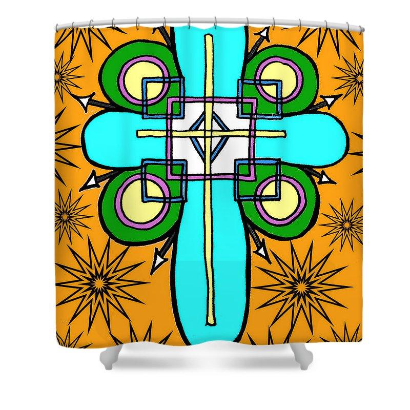 Tribal Shower Curtain featuring the digital art Reservoir by Alexander Ladd