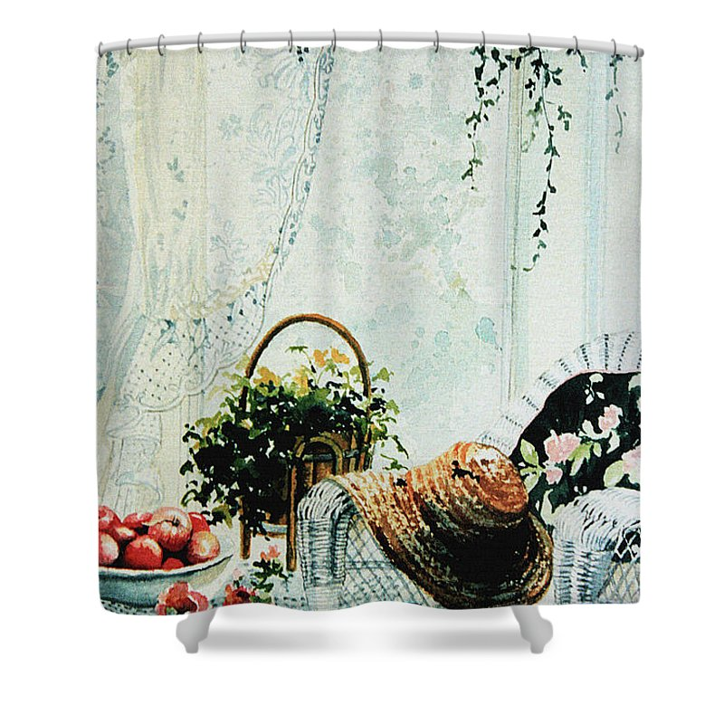 Garden Room Still Life Shower Curtain featuring the painting Rest From Garden Chores by Hanne Lore Koehler