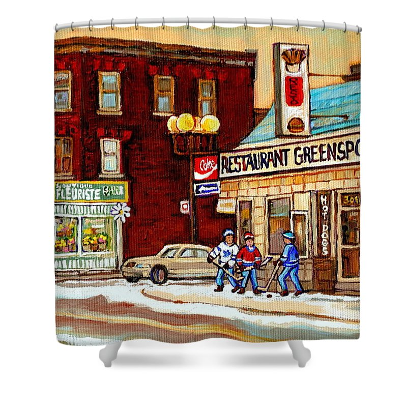 Montreal Shower Curtain featuring the painting Restaurant Greenspot And Coin Vert Boutique Fleuriste Montreal Winter Street Hockey Scenes by Carole Spandau