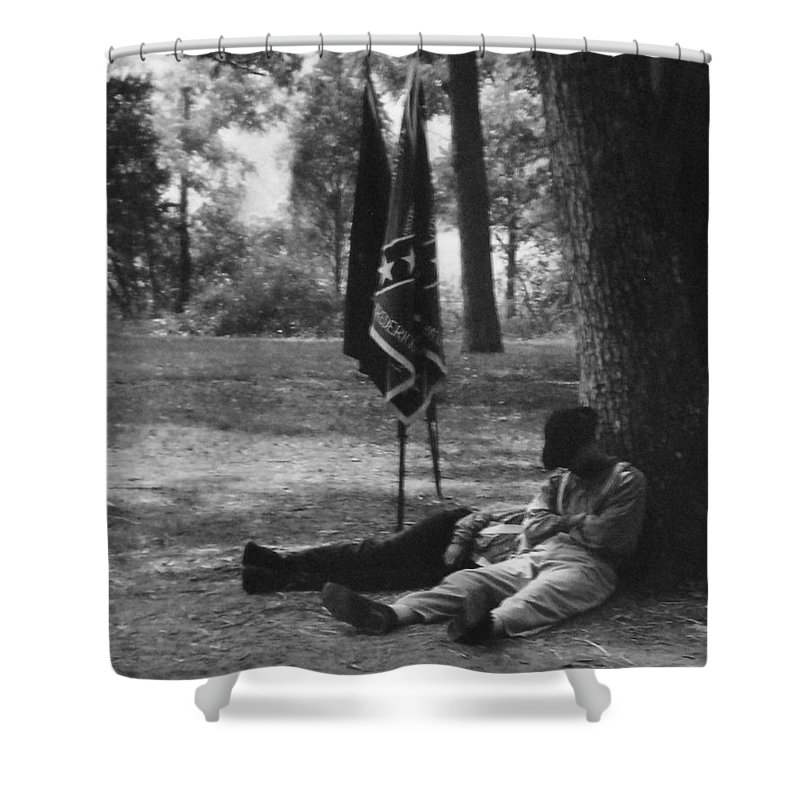 Black And White Shower Curtain featuring the photograph Resting At Gettysburg by Eric Liller