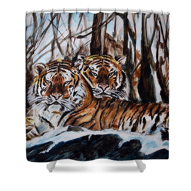 Tiger Shower Curtain featuring the painting Resting by Harsh Malik