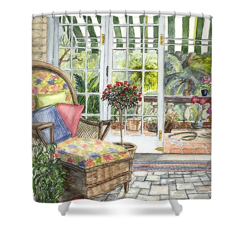 Scenery Shower Curtain featuring the painting Resting On The Lanai Part 1 by Carol Wisniewski