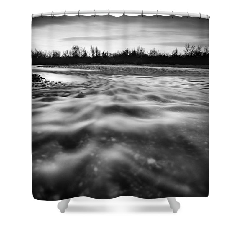 Landscapes Shower Curtain featuring the photograph Restless River II by Davorin Mance