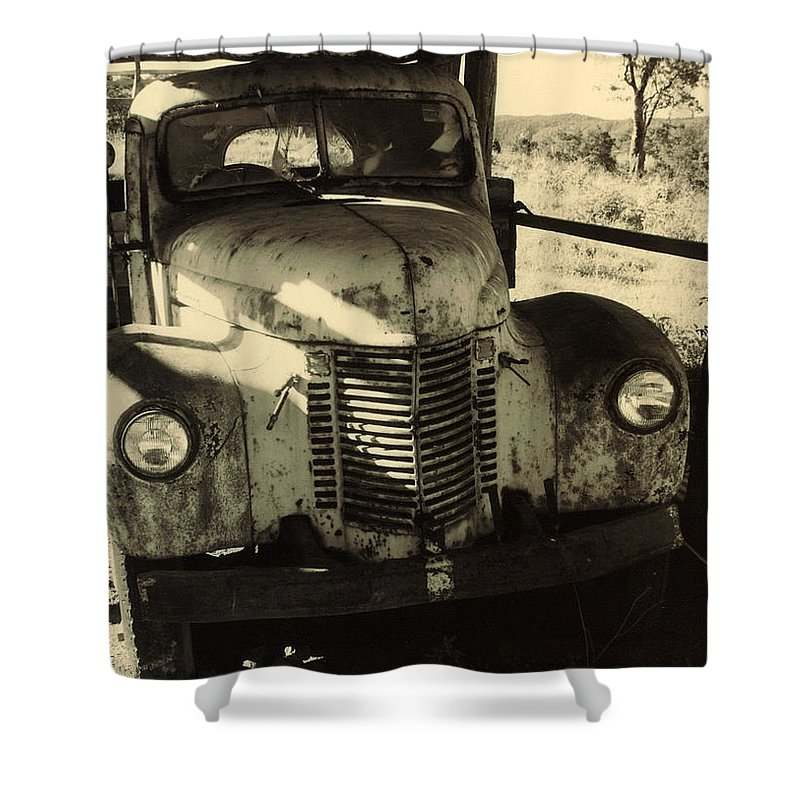 Old Truck Shower Curtain featuring the photograph Retired by Totally Talliesen