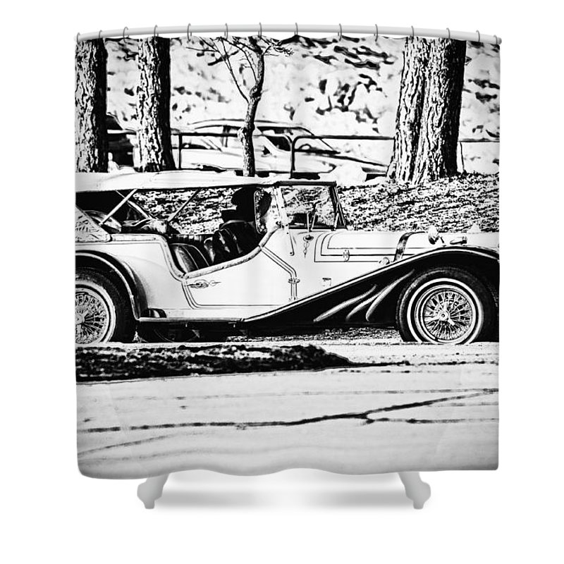 Automobile Shower Curtain featuring the photograph Retro Cabriolet by Les Palenik
